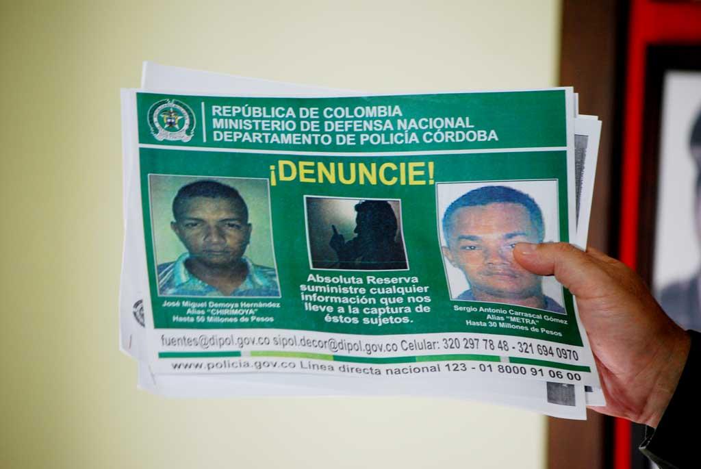 Por alias 'Chirimolla' y alias 'Metra', la Policía ofrece $50 y $30 millones de pesos respectivamente.